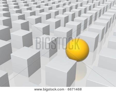 Bright Sphere In Row Of Grey Boxes