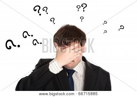 Businessman In Stress With Questions
