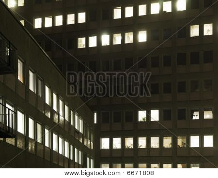 House with lighted windows
