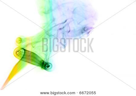 Colored Smoke Over White