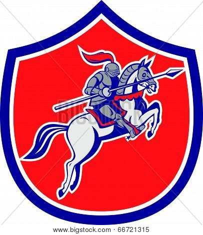Knight Riding Horse Lance Shield Cartoon