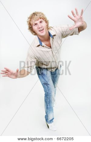 Young Boy Balancing Over White