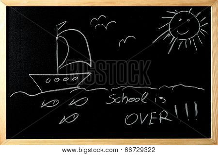Shool Is Over For Summer On A Blackboard