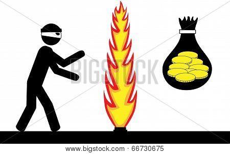 Thief steal money