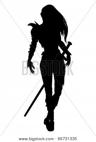 Knight Woman Silhouette