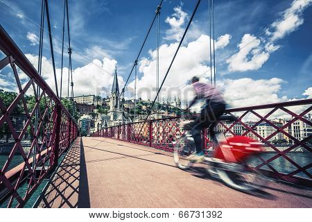 Bike On Red Footbridge