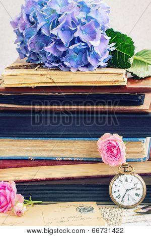 vintage  books and letters with flowers
