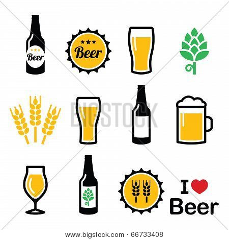 Beer colorful vector icons set - bottle, glass, pint