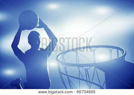 Basketball player silhouette jumping and making slam dunk. Action lights