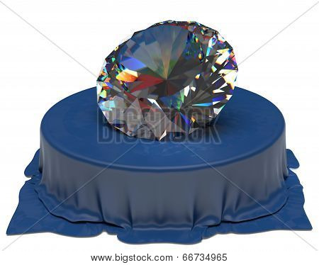 Diamond over Blue Silk Fabric