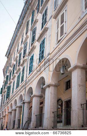 Old Venetian Buiilding In The City Of Corfu