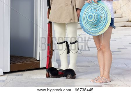 Greek Soldier And Tourist Girl