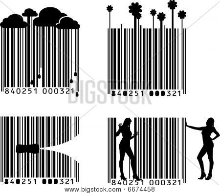 Four Black And White Barcode Variations