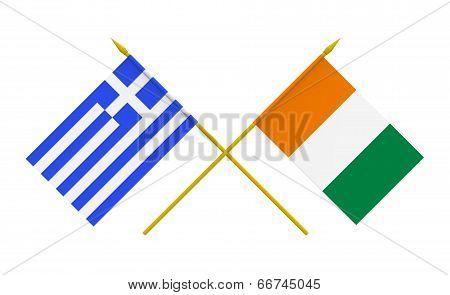 Flags, Greece And Ivory Coast