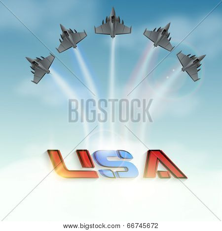 Air show by fighter planes making colorful text USA in sky, American Independence Day celebration concept.