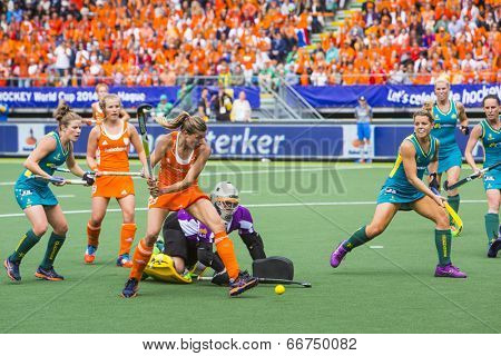 THE HAGUE, NETHERLANDS-JUNE 14,2014: Kim Lammers (23) scores 2-0 in the match against Australia during the finals of the Rabobank Hockey World Cup, securing victory and becoming World Champions