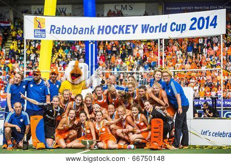 THE HAGUE, NETHERLANDS - JUNE 14: Team photo of the victorious Dutch Team, coaches and support staff at the prize giving ceremony of the world championships hockey 2014