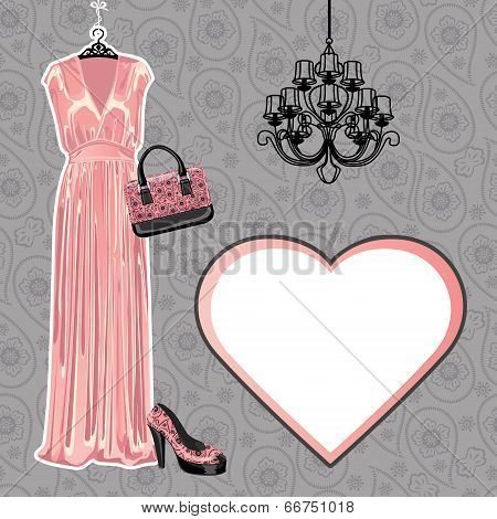 Set Of Dress,shoe, Handbag With Paisley Pattern. Fashion Illustration