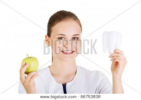 Doctor smiling , holding tooth and apple. Dental care