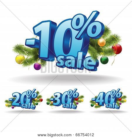 Blue inscription ten, twenty, thirty, forty percent on a white background. Christmas decoration. Vec