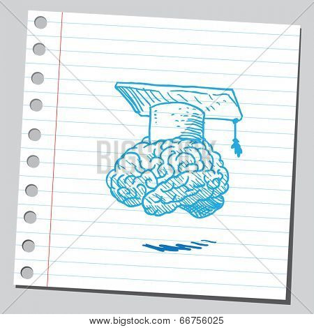 Brain with graduation cap