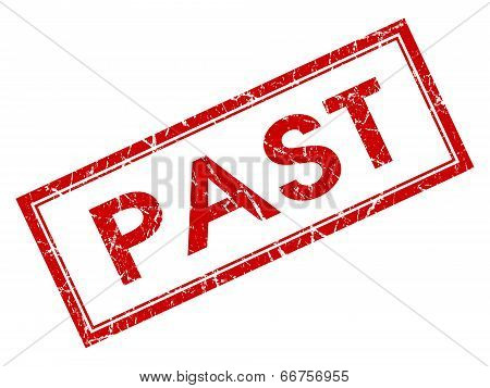 Past Red Square Grungy Stamp Isolated On White Background