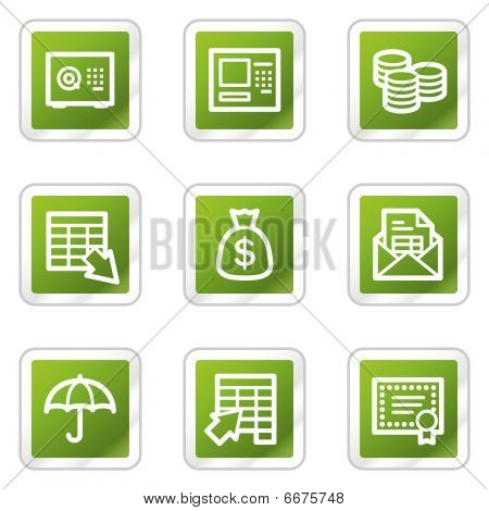 Banking web icons, green square series