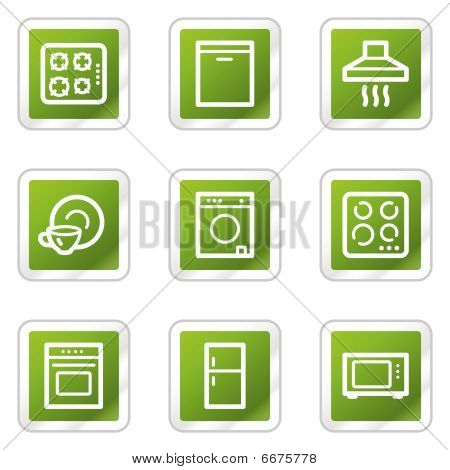 Home appliances web icons, green square series