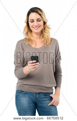 Portrait Of Happy Woman Browsing With Mobile Phone Isolated On White Background