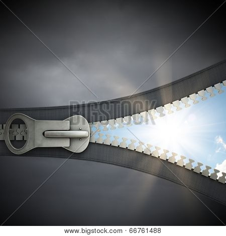 Conceptual image with zipper and nature landscape