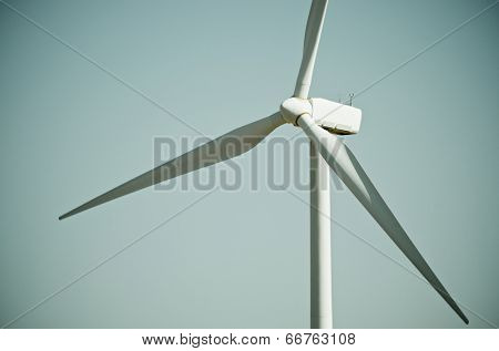 detail of the top of a windmill for renewable energy production, Fuendejalon, Zaragoza, Aragon, Spain
