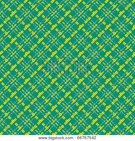 Seamless Mesh Diagonal Pattern Over Green