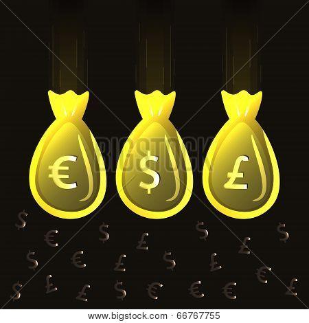 Illustration of a bag of money. Vector.