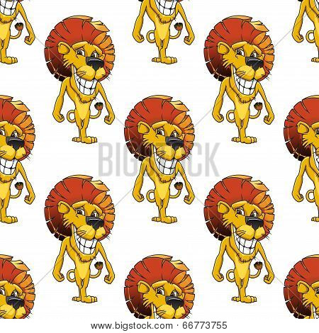 Lion with a cheesy toothy grin seamless pattern