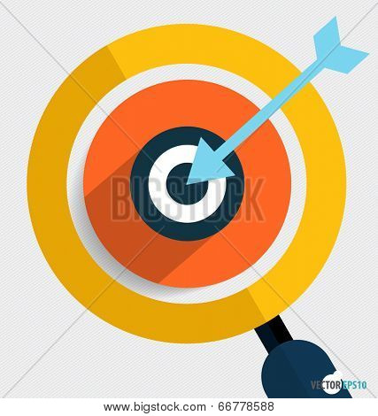 Magnifying glass and dartboard, Business working elements for web design, seo optimizations, mobile app, social networks. Modern Flat design icon vector illustration.