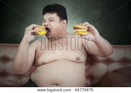 Greedy Fat Man Eating Hamburger 3
