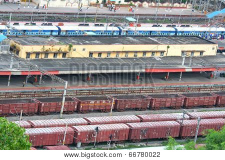 VIJAYAWADA, INDIA - August 16: Front view of train engine, August 16,2008 in Vijayawada, India. Vijayawada junction is busiest in South central railway.