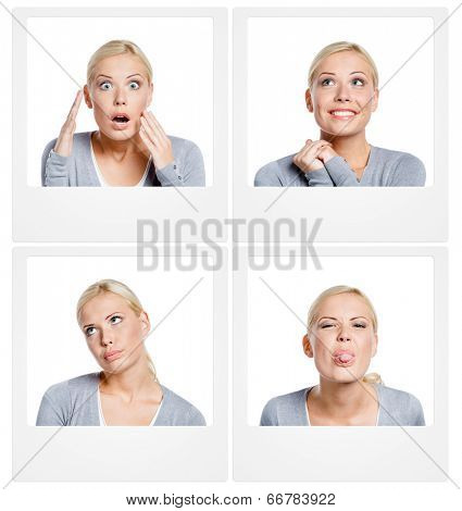 Set of pictures of woman showing different emotions, isolated on white, copyspace