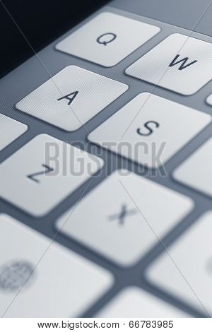 Close up view of keys of pc keyboard. Concept of technology and peripheral devices