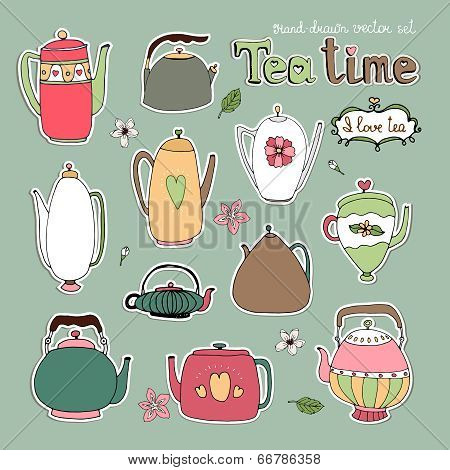 Hand drawn vector teapots and kettles