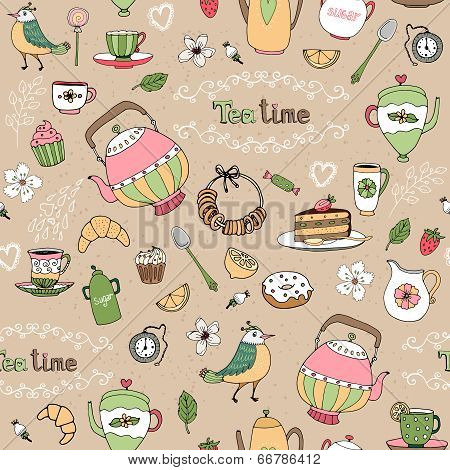 Afternoon tea seamless background pattern