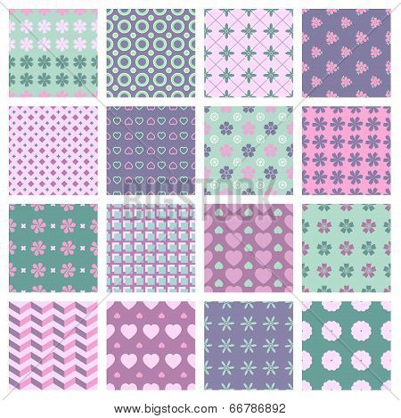 vector 16 seamless spring patterns