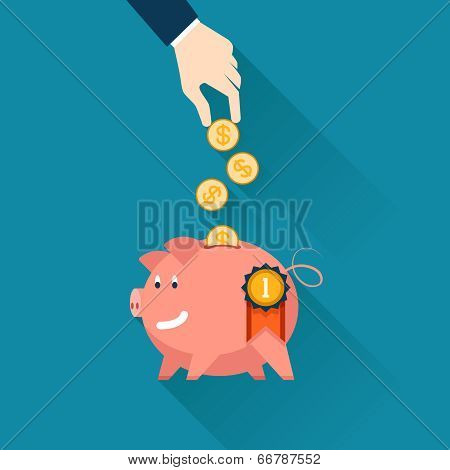 Businessman dropping coins into a piggy bank