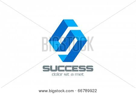 Letter S Ribbon abstract vector logo design. Rhombus shape. Corporate Business Technology concep