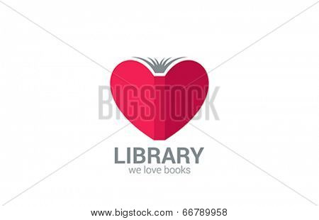 Book Store vector logo design. Creative library concept. Learn, study idea icon. Love Books symb