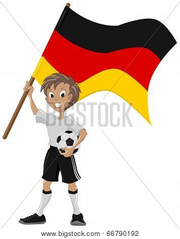 Happy soccer fan holds Germany flag