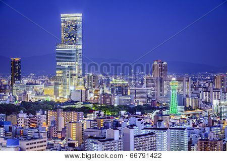Osaka, Japan at Abeno District and Shinsekai districts.