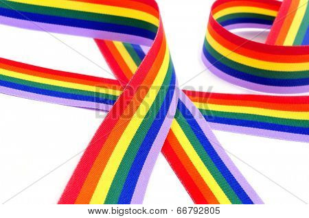 a rainbow ribbon on a white background