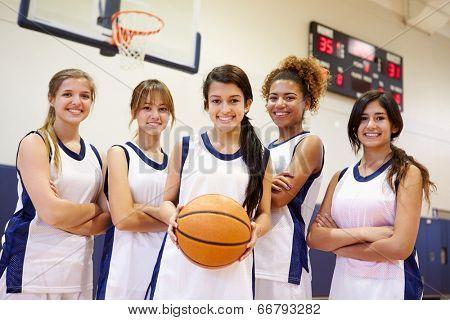 Members Of Female High School Basketball Team