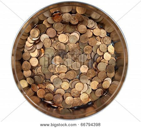 Pile Russian Copper Coins In A Round Tin Box
